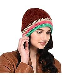 VR Designers Women's Handknitted Woollen Skull Cap (vrcp-130818-015, Maroon, Free Size)