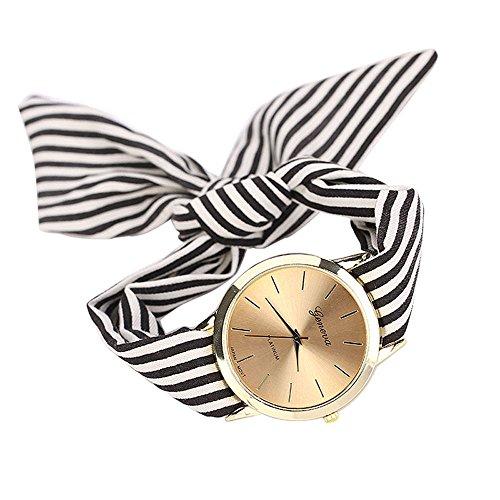 BaZhaHei Damen Uhren Frauen-Streifen-Blumentuch-Quarz-Vorwahlknopf-Armband-Armbanduhr-Uhr-Schwarzes...