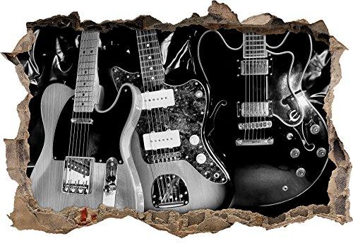 Monocrome, guitares électriques élégantespercée murale en apparence 3D, la taille de la vignette mur ou de porte: 92x62cm, stickers muraux, sticker mural, décoration murale