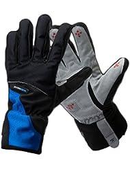 West biking–Guantes de invierno polar térmico, cortavientos, transpirables, para ciclismo/Esquí, Hombre mujer Chicos, Blu - blu, L