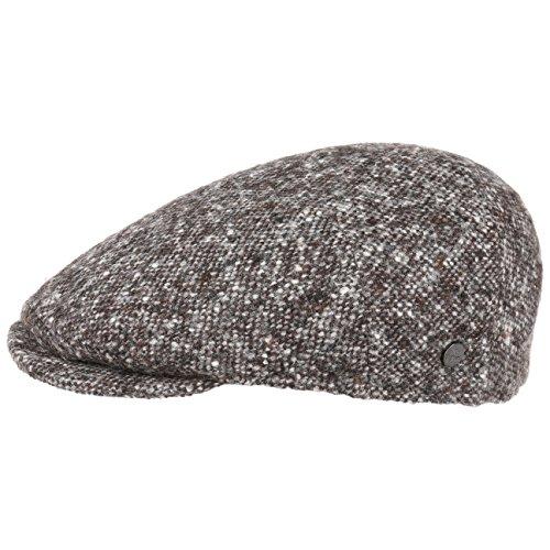 Lierys Virgin Wool Tweed Flatcap Schirmmütze Wollcap Schiebermütze Cap Mütze Kappe Herren   Made in Italy Wintercap mit Schirm, Futter Herbst-Winter   56 cm braun -