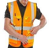 Islander Fashions Adult High Visibility Weste Herren Sport Arbeitskleidung Sicherheit Reflektierende Weste Orange XXXXX Gro�
