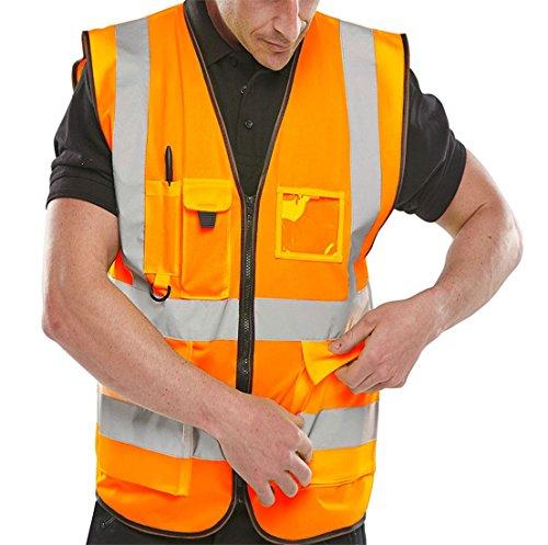Islander Fashions Erwachsene High Visibility Weste Herren Sport Arbeitskleidung Sicherheit Reflektierende Weste Orange Medium