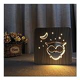 Erwa Schreibtischlampe Owl LED Holz Nachtlicht Tischlampen Kleine Tische Für Bett Zimmer USB Nachtlicht Neuheit 3D Nachtlicht Warmes Licht