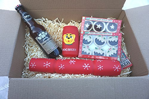 DOG CHRISTMAS GIFT HAMPER WITH DOG SAFE DOG BEER SQUEAKY CRACKER & BEER CHEWY MINCE PIES & XMAS PUDS