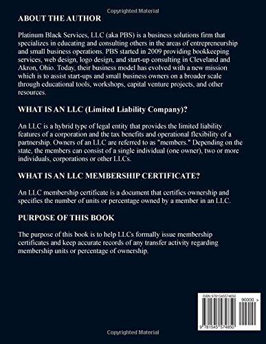 LLC Membership Certificates Corporate Starter Kit: Organized in the State of Michigan (Black & White)