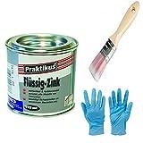 Flüssig-Zink Dose Wetterfest und Farbtonstabil Farbe: silber inkl. 1x Pinsel mit synthetisch Borsten zum Auftragen (flüssig Zink 125 ml)
