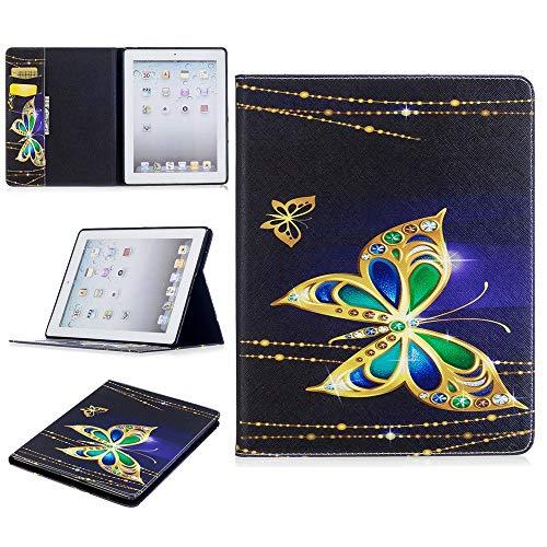 JUFENGYAO Niedlicher Panda-Eulen-Schmetterlings-Blumen-Entwurfs-Tablet-Standplatz-Kartenschlitz-Kasten kompatibel mit für iPad 2./3 ./4. Generation Tablethülle (Pattern : 3) - Ipad Blumen 2. Cases Generation