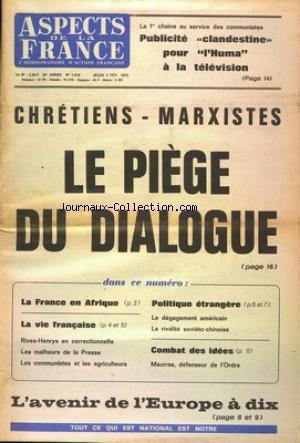 ASPECTS DE LA FRANCE [No 1219] du 03/02/1972