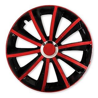 (Farbe und Größe wählbar) 16 Zoll Radkappen GRAL Bicolor (Schwarz/Rot), passend für fast alle Fahrzeugtypen (universal)