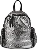 styleBREAKER Rucksack Handtasche in Metallic Stepp Optik und Reißverschluss, Tasche, Damen 02012199, Farbe:Silber Metallic
