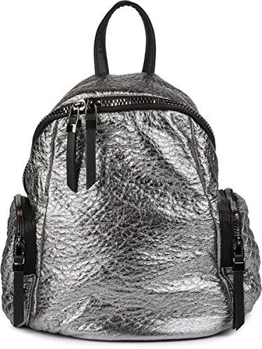styleBREAKER borsa zaino in stile trapuntato metallico e cerniera, borsa, donna 02012199, colore:Nero metallizzato Argento metallizzato