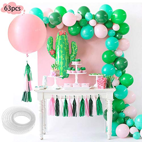 SPECOOL 63Stück Sommer Tropical Party Dekoration Luftballons Supplies-40pcs Rosa und Grün Latexballons, Riesenfolie Kaktus Ballon und großer Ballon für Mädchen Geburtstag, Hochzeiten, Babyparty Deko