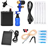 MagiDeal Complete Tattoo Kit Professional Rotary Tattoo Machine/Hand Grip/Mini Power/Foot Pedal/Clip Cord/Nozzle Tips Supplies - blue