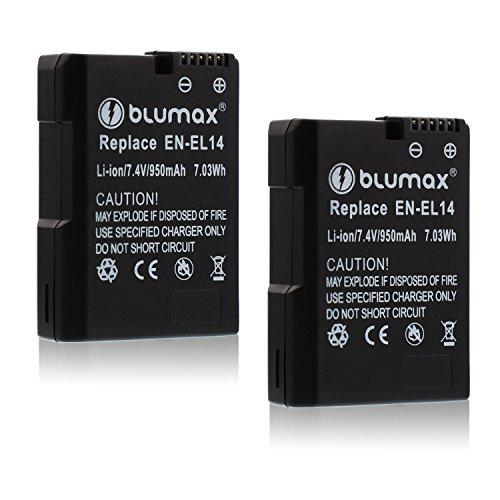 Blumax 2X Akku für Nikon EN-EL14/EN-EL14a 950mAh |Kompatibel mit Nikon DF-D3100-D3200-D3300-D5200-D5300-D5400-D5500 | Coolpix P7000-P7100-P7700-P7800