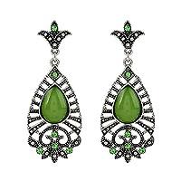 MSYOU 1 Pair Vintage Ethnic Earrings Jewelry Pendant Drop Shape Dangle Earrings Ear Studs for Women Girl