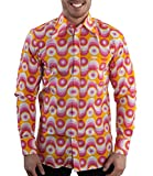 70er Jahre Party Hemd Waves Pink 3XL