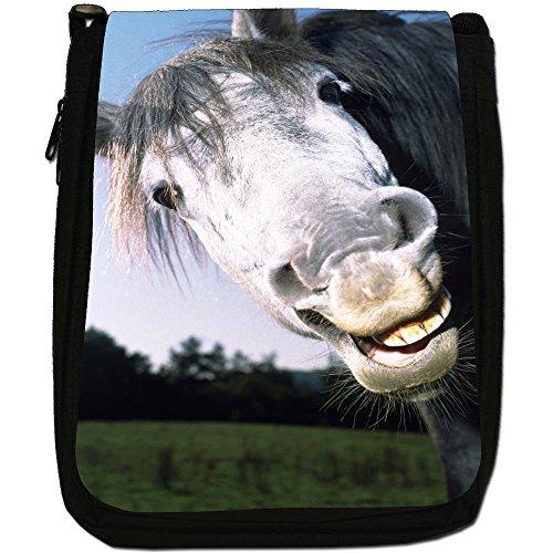 Superb eccezionale Stallion cavalli bianchi-Borsa a tracolla in tela, colore: nero, taglia: M Nero (LOL Funny Laughing Horse)