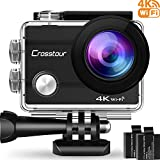 Crosstour Action Cam WiFi Sports Aktion Kamera 4K 12MP Ultra HD 2' LCD Unterwasserkamera 30M 170 °Ultra-Weitwinkel mit 2 1050mAh Batterien und Zubehör-Kits für Radfahren