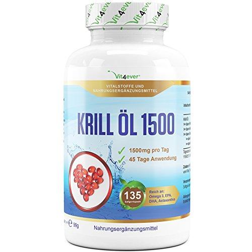 Krill Öl 1500 - 135 Softgel Kapseln - Hochdosiert mit 1500 mg pro Tag - Reich an EPA, DHA, Astaxanthin, Phospholipide und Omega 3 Fettsäuren, Antarktis Krillöl in Premium Qualität - Vit4ever (Softgels Astaxanthin)