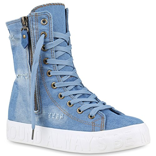 Damen Sneakers High Denim Turnschuhe Zipper Jeans Optik Prints Hellblau