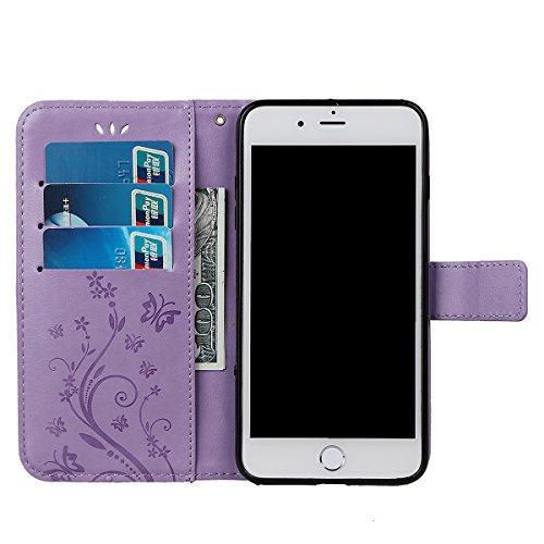 Hülle für iPhone 7/8 Plus, xhorizon Blumenschmetterling magnetische umklappbare Brieftasche Schutzhülle mit Standfunktion und Kartensteckplätzen aus geprägtem PU-Leder für iPhone 7 Plus / iPhone 8 Plu Helles Lila + Stylus + Staubstecker