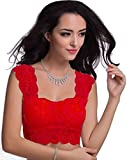 BARE THREADS Floral Lace Blouse cum Crop Top Padded with soft cups FREE SIZE (Red)