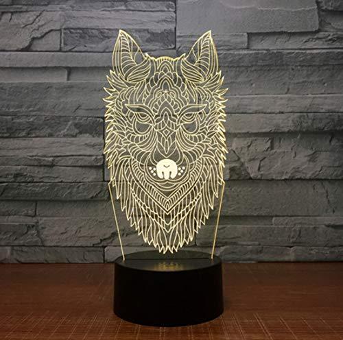 Nachtlicht des Wolf-Kopf-3d buntes LED Halloween-Geschenk Usb