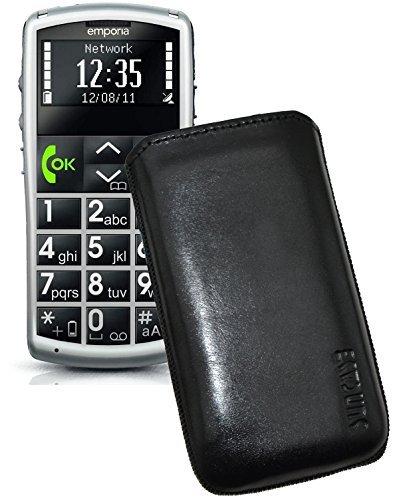 Original Suncase Tasche für / Emporia Talk Comfort / Emporia Talk Comfort Plus / Emporia Talk Basic / Leder Etui Handytasche Ledertasche Schutzhülle Case Hülle *Lasche mit Rückzugfunktion* in schwarz