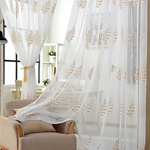 n Gute Qualität Gaze Polyester Weiß Blau Stickerei zum Fenster Vorhänge Fertiges Produkt Tülle Oben EIN Panel 200cmx270cm (80x108 Zoll),White,1pc(250 * 270cm) ()