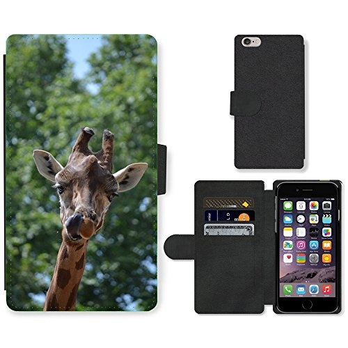 Just Mobile pour Hot Style Téléphone portable étui portefeuille en cuir PU avec fente pour carte//m00139356Girafe Animaux Langue//Apple iPhone 6Plus 14cm