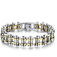 YSM 215 millimetri Biker Catena Bracciale Charm Bracciale in acciaio inox moda e Classic Wristband (argento + oro)