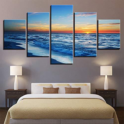 Comecong Dekorative Malerei,HD-Inkjet-Multi-Seascape-Wellenkunst, die Hauptschlafzimmermode-Nachttischhintergrund Malt, der 8 Malereikern 30x40cmx2 30x60cmx2 30x80cmx1 Malt