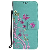 Galaxy S8 Case [Free Tempered Glass Screen Protector],Mo-Beauty® Colorful Floral Flower Butterfly PU Leather Flip Wallet Case Cover For Samsung Galaxy S8 (Rose,Green)