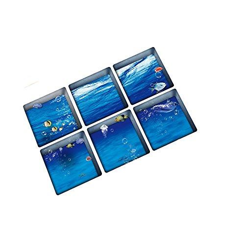 Vitila 3D Badewanne Aufkleber Badezimmer Dekoration Marine Life Wasserdicht Rutschfeste Aufkleber Tapete (Badewanne Abziehbilder)