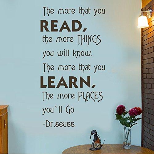 MairGwall Dr. Seuss Zitat mehr, DASS Sie lesen Home Schule Aufkleber Bibliothek Wandtattoo, Vinyl, weiß, 29