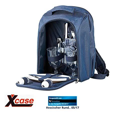 Xcase Picknickrucksack: Thermo-Picknick-Rucksack mit Kühlfach, bestückt für 2 Personen (Picknickrucksack mit Kühlfach)