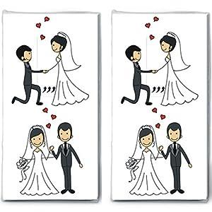 20 Taschentücher (2x 10) Married Couple – Verliebtes Hochzeitspaar / Hochzeit / Freudentränen