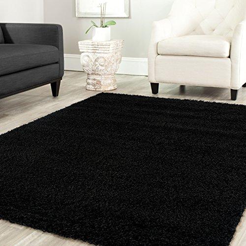 Teppich-home stella shaggy tappeto colore pelo lungo tappeti moderni per soggiorno camera letto tinta unita nero, Ø 160 cm tondo