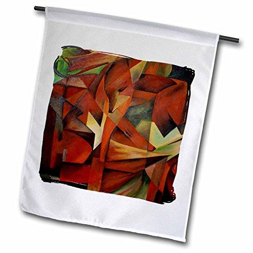 3dRose FL_46920_1 Fuchsabstrakt+Kunst, Tiere, Tiere, In+Art, Braun, Kubismus, Cunning, Fuchs-Gartenflagge, 30,5 x 45,7 cm