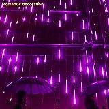 TAOtTAO Party LED Lights Meteor Shower Rain Snowfall Xmas Tree Garden Outdoor Purple