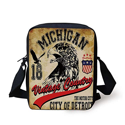 Eagle,Hand Drawn City of Detroit Michigan Digital Art with a Portrait of an Eagle Decorative,Pale Brown Black Red Print Kids Crossbody Messenger Bag Purse -