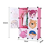 TheTickleToe DIY Plastic Cartoon Wardrobe Kids Children Girls Room Decor Furniture Closet Storage Organizer Pink Colorful 6 Cubes