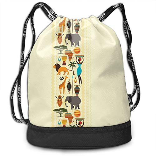 Multipurpose Drawstring Bag for Men & Women, The Dark Continent Ethnic Elements Woman of Color Carrying Water Lion Elephant,Tote Sack Large Storage Sackpack for Gym Travel Hiking -