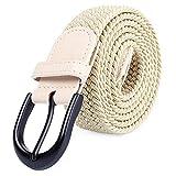 Mile High Life Cintura Elastica intrecciata in tessuto con Fibbia metallo ovale con estremità in pelle nera per pantaloni uomo/donna/bambino (kaki, XXX-grande 121cm-126cm (lunghezza 142cm))