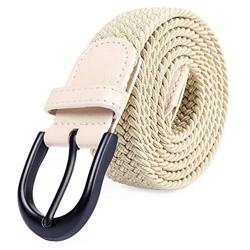 Mile High Life Cinturón Elástico Trenzado con Bordado Extensible, Hebilla Metálica Negra Ovalada y Terminaciones en Cuero para Hombre/Mujer/Niños (Caqui, pequeño 71cm-76cm (91.5cm de longitud))