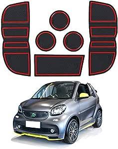 Lfotpp Smart Fortwo 453 Gummimatten Wasser Becherhalter Innentür Matten Antirutschmatten Türschlitzmatte 6 Stücke Rot Auto