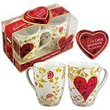 Günthart Tassen mit Herzmotiven, 2er Pack (2x 24 g)