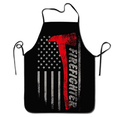 Edge Axe (fghjdfcnfd Firefighter Axe Red Line Flag Cooking Apron Kitchen Apron, Lock Edge Waterproof Durable String Adjustable Easy Care Aprons for Women Men Chef)