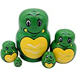 Set Of 5 Cute Cartoon Animal Theme Green Frog Handmade Wooden Russian Nesting Dolls Matryoshka For Kids Toy Birthday Gift